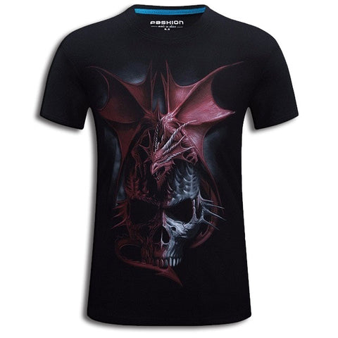Red Dragon And Skull T-shirt