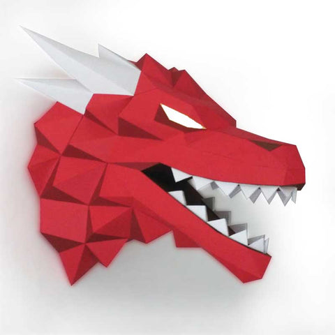 Red Dragon Head Paper 3D Puzzle