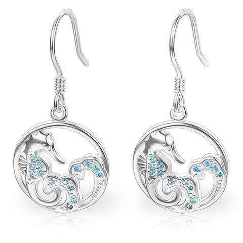 Silver Dragon Earrings with Zircon Stones (silver)