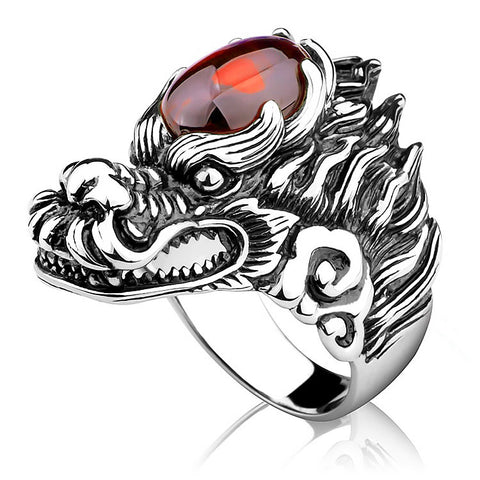 Shiny Brain Silver Dragon Head Ring