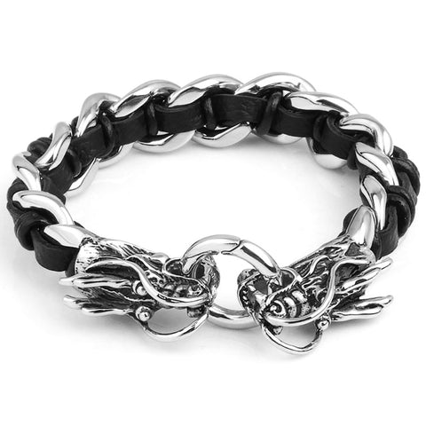 Stainless Steel Dragon Leather Bracelet