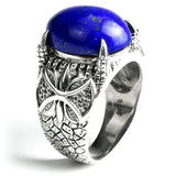 Sterling Silver and Lapis Lazuli Ring with Dragon Mounting