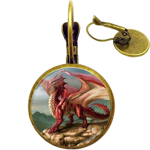 Welsh Red Dragon Earrings (bronze)