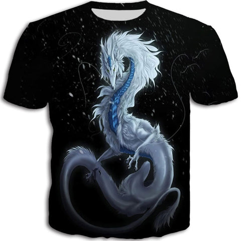 White and Blue Shiny Fur Dragon T-shirt