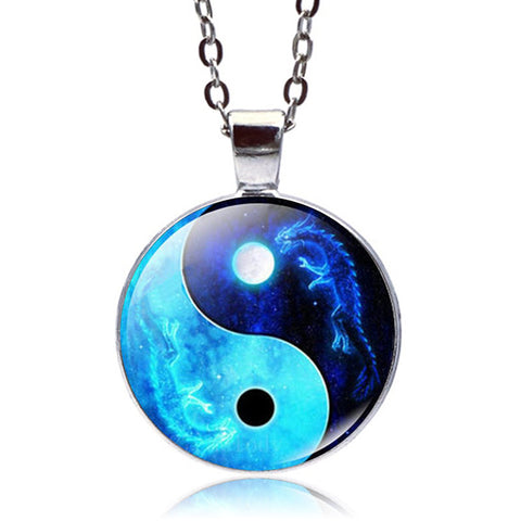 Yin Yang Dragon Necklace (Silver finish)