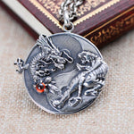 Yin Yang Dragon Tiger Pendant (Sterling Silver)