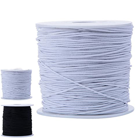 3mm(1/8'') Black or White round elastic cord - 3 yards