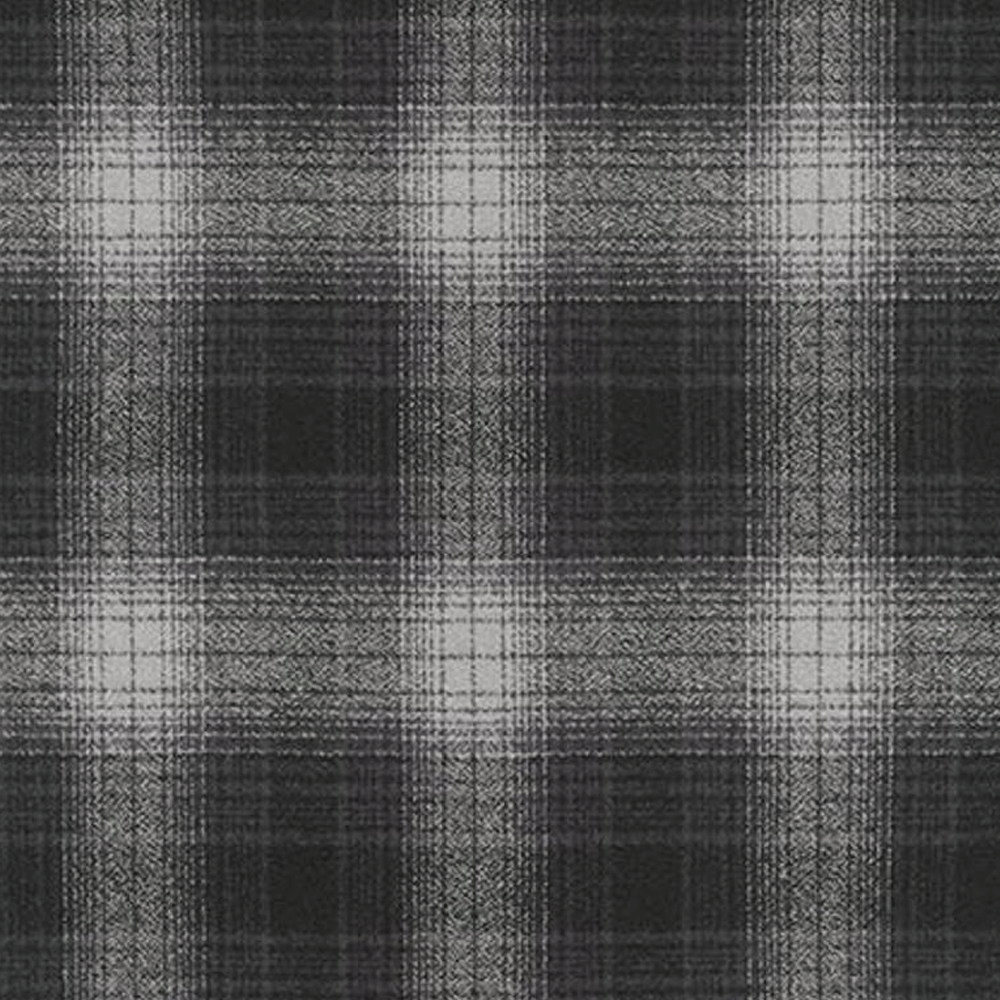 Mammoth Flannel - 'Charcoal' Black and Light Gray Plaid - Robert Kaufman