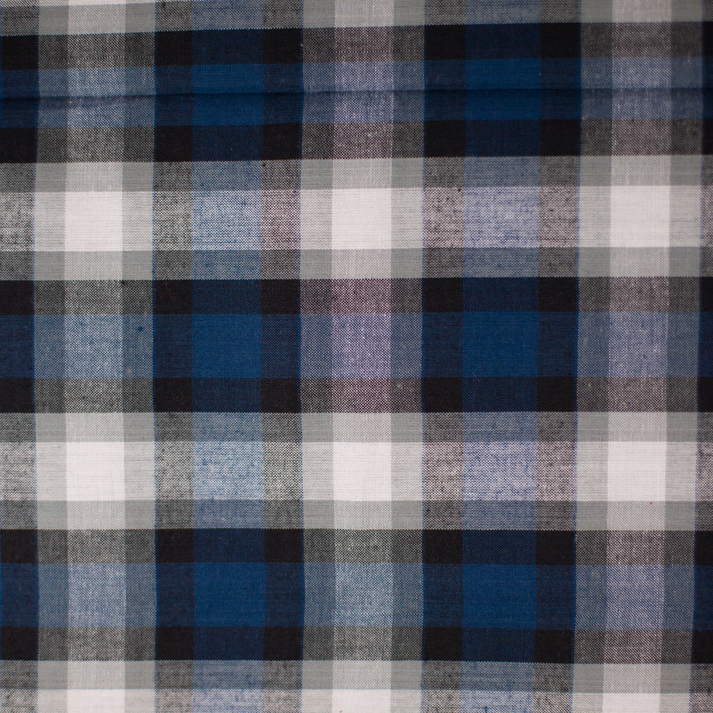 Blue, Black, Navy and White Plaid Madras Shirting - AE Nathan