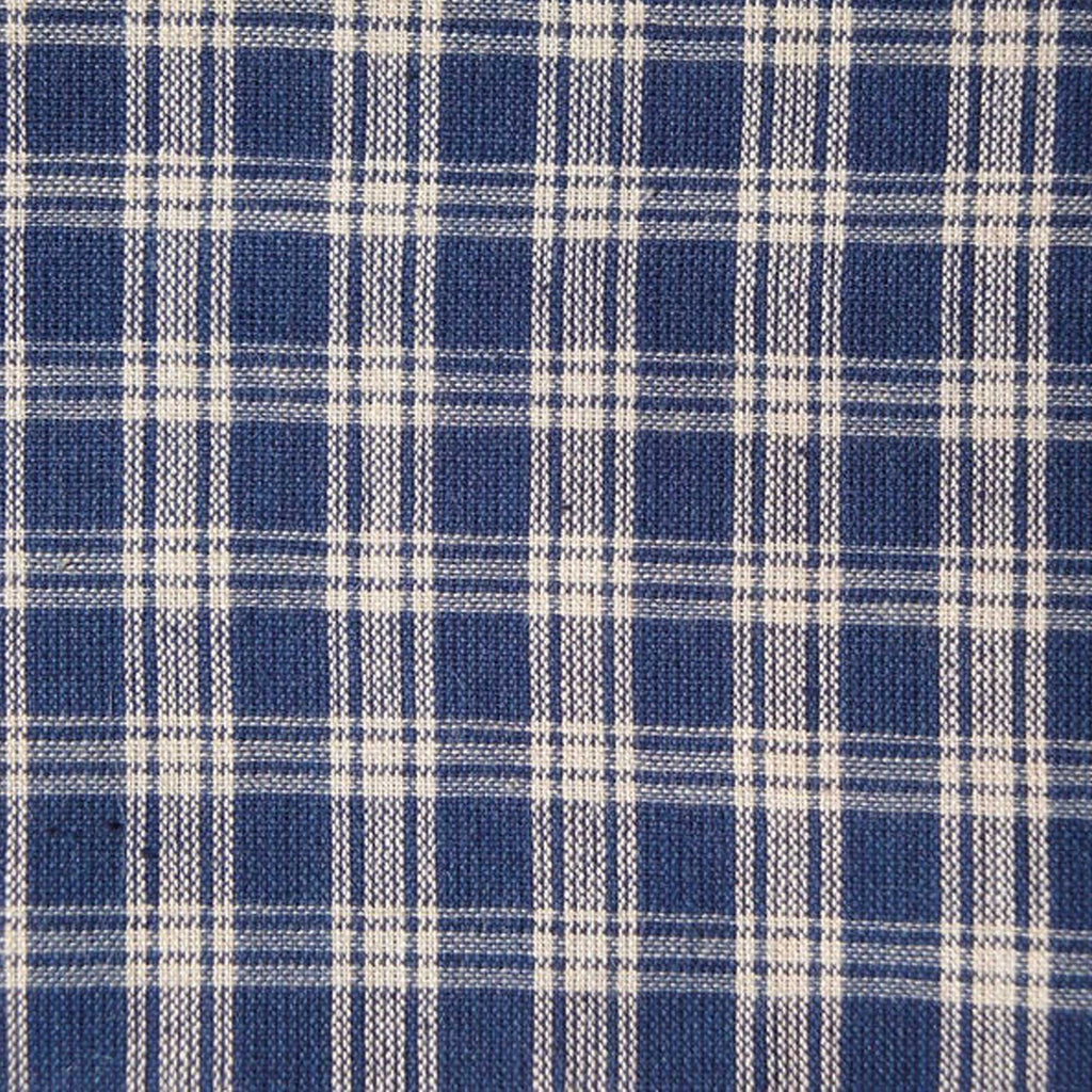 Navy Blue And Tan Basic Plaid Woven Cotton Homespun Fabric