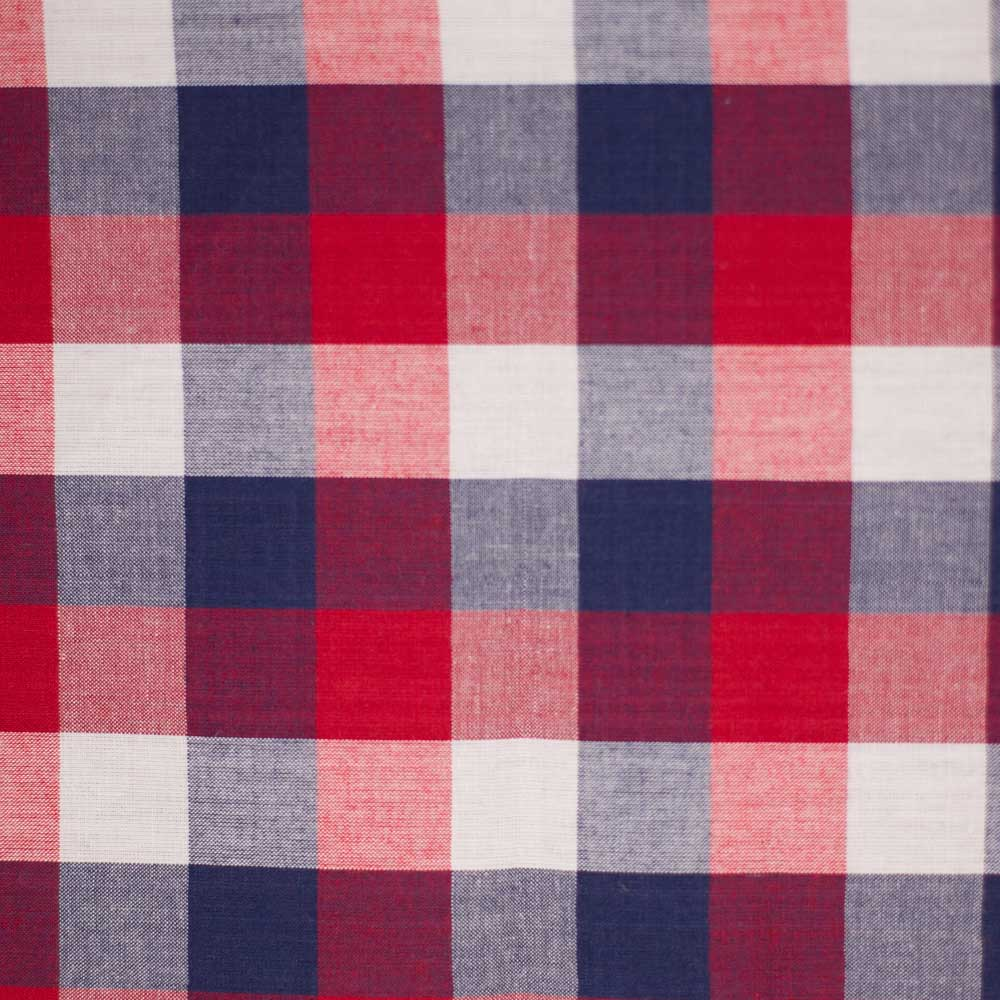 Red, White, Blue Madras Shirting AE Nathan