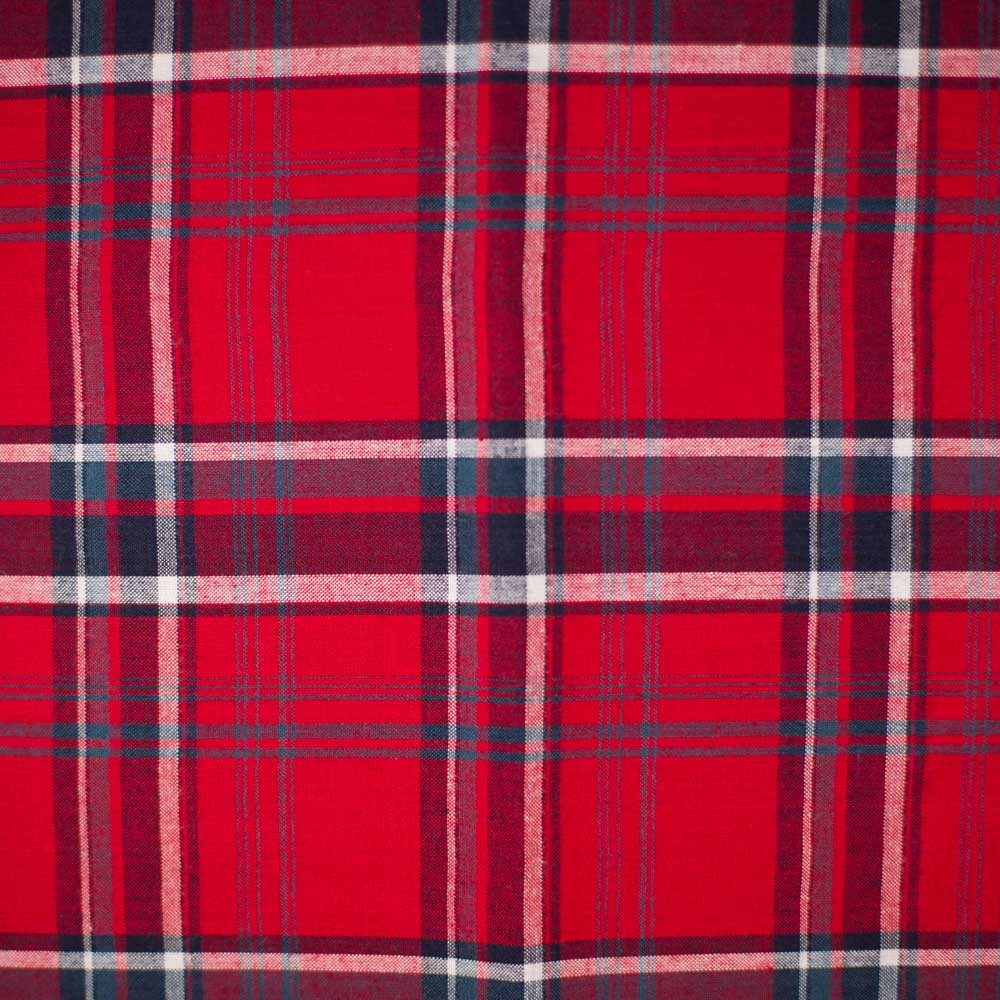 Red Madras Plaid Shirting - AE Nathan