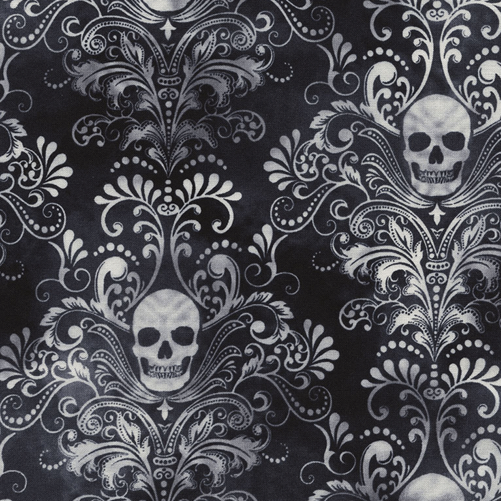 Skull Damask - Wicked-C3759-Charcoal - Timeless Treasures