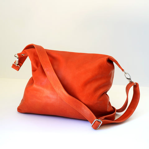Babushka Orange Leather Bag