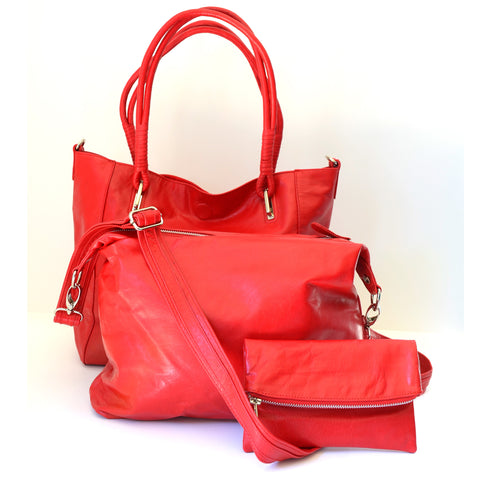 Babushka Red Leather Bag