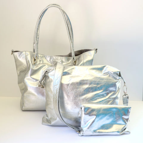 Babushka Silver Leather Bag