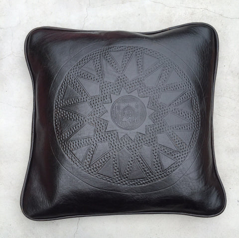 Moroccan Leather Embossed Cushion