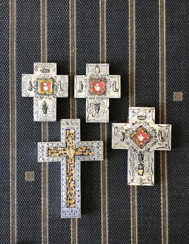 Mexican Wooden Tin Cross