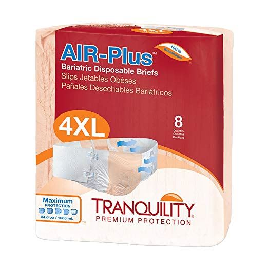 Tranquility® AIR-Plus™ Bariatric Unisex Adult Incontinence Brief Tranquility® AIR-Plus™ Bariatric Tab Closure 4X-Large Disposable Heavy Absorbency - CS/32 (21953100)