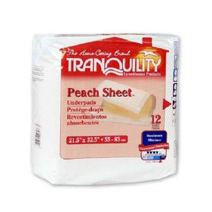 Tranquility® Peach Sheet Underpad Tranquility® Peach Sheet 21-1/2 X 32-1/2 Inch Disposable Polymer Heavy Absorbency - PK/12 (20743101)