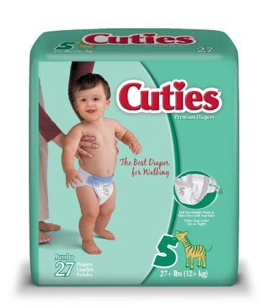 Cuties® Unisex Baby Diaper Cuties® Tab Closure Size 5 Disposable Heavy Absorbency - PK/27 (50013101)