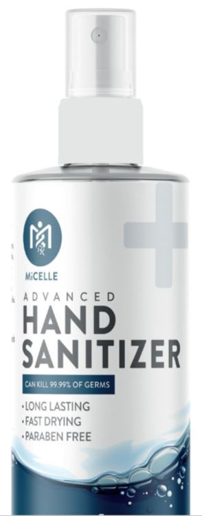 HS-4S MiCelle 4 oz bottle SPRAY- Hand Sanitizer Solution - FDA Approved, Formula (2-in-1) Solution Spray - 70% ethyl alcohol, food code compliant