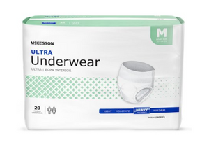 McKesson Ultra Unisex Adult Absorbent Underwear McKesson Ultra Pull On with Tear Away Seams Medium Disposable Heavy Absorbency - BG/20 (83873101)