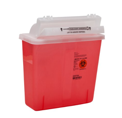 SharpStar™ In-Room™ Sharps Container SharpStar™ In-Room™ 1-Piece 12-1/2 H X 5-1/2 D X 10-3/4 W Inch 5 Quart Translucent Red Horizontal Entry Lid - EA (85072800)