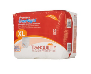 Tranquility® Premium OverNight™ Unisex Adult Absorbent Underwear Tranquility® Premium OverNight™ Pull On with Tear Away Seams X-Large Disposable Heavy Absorbency - PK/14 (27113101)