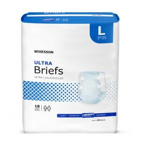 McKesson Ultra Unisex Adult Incontinence Brief McKesson Ultra Tab Closure Large Disposable Heavy Absorbency - CS/72 (73383100)