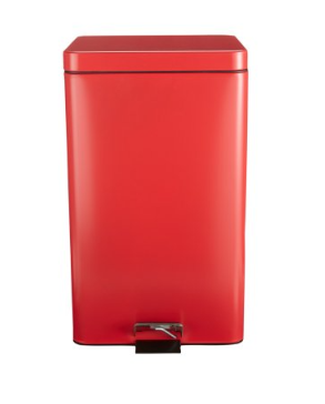 McKesson Trash Can with Plastic Liner McKesson 32 Quart Square Red Steel Step On - EA (62674101)