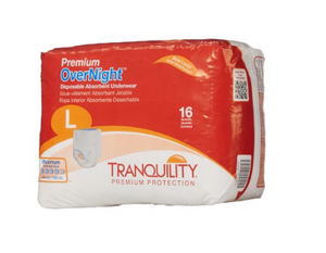 Tranquility® Premium OverNight™ Unisex Adult Absorbent Underwear Tranquility® Premium OverNight™ Pull On with Tear Away Seams Large Disposable Heavy Absorbency - PK/16 (22163101)