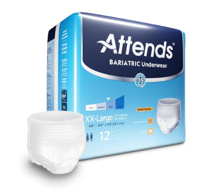 Attends® Bariatric Unisex Adult Absorbent Underwear Attends® Bariatric Pull On with Tear Away Seams 2X-Large Disposable Moderate Absorbency - BG/12 (55023101)