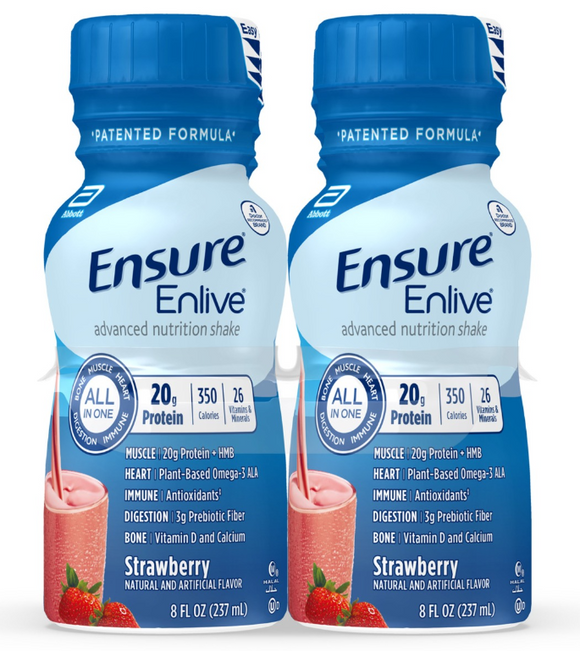 Ensure® Enlive® Oral Supplement Ensure® Enlive® Strawberry Flavor Ready to Use 8 oz. Container Bottle - CS/24 (64812610)