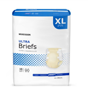 McKesson Ultra Unisex Adult Incontinence Brief McKesson Ultra Tab Closure X-Large Disposable Heavy Absorbency - BG/15 (30783101)