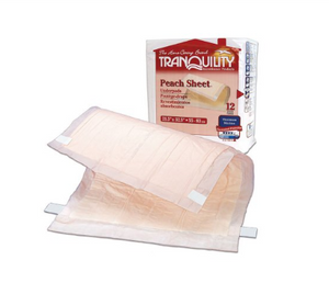 Tranquility® Peach Sheet Underpad Tranquility® Peach Sheet 21-1/2 X 32-1/2 Inch Disposable Polymer Heavy Absorbency - CS/96 (20743101)