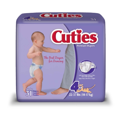 Cuties® Unisex Baby Diaper Cuties® Tab Closure Size 4 Disposable Heavy Absorbency - CS/124 (40043100)