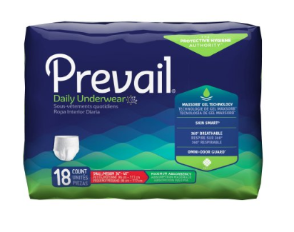 Prevail® Unisex Adult Absorbent Underwear Prevail® Pull On with Tear Away Seams Small / Medium Disposable Heavy Absorbency - PK/18 (82223100)