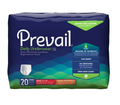 Prevail® Daily Underwear Unisex Adult Absorbent Underwear Prevail® Daily Underwear Pull On with Tear Away Seams Medium Disposable Moderate Absorbency - PK/20 (82123101)
