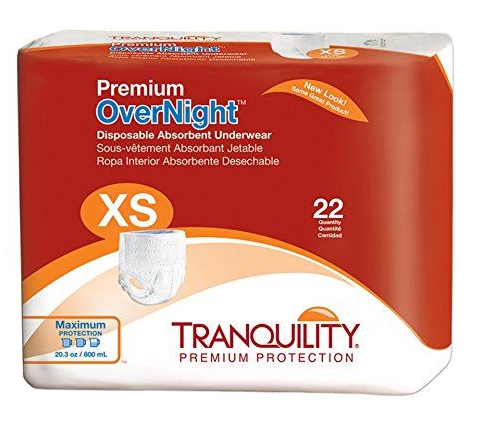 Tranquility® Premium OverNight™ Unisex Adult Absorbent Underwear Tranquility® Premium OverNight™ Pull On with Tear Away Seams X-Small Disposable Heavy Absorbency - CS/88 (21333100)