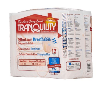 Tranquility® Slimline® Breathable Unisex Adult Incontinence Brief Tranquility® Slimline® Breathable Tab Closure Medium Disposable Heavy Absorbency - PK/12 (23053101)