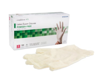 McKesson Confiderm® Exam Glove McKesson Confiderm® Small NonSterile Latex Standard Cuff Length Textured Fingertips Ivory Not Chemo Approved - BX/100 (41421300)