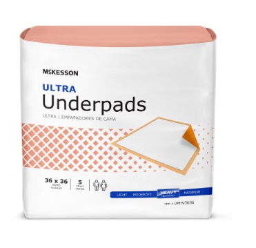 McKesson Ultra Underpad McKesson Ultra 36 X 36 Inch Disposable Fluff / Polymer Heavy Absorbency - CS/50 (73633100)