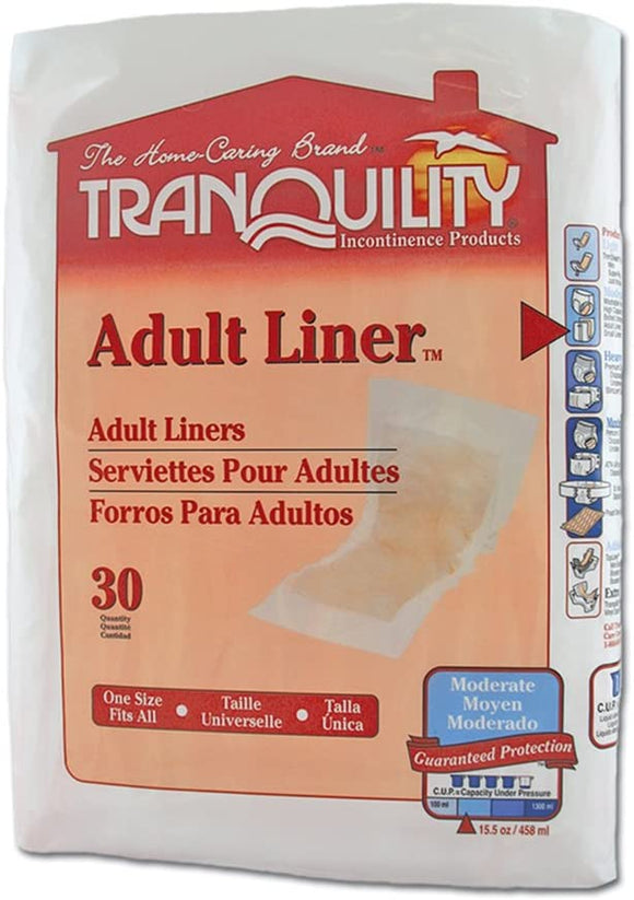 Tranquility® Incontinence Liner Tranquility® 9 X 24 Inch Light Absorbency Polymer Core One Size Fits Most Adult Unisex Disposable - CS/120 (20783102)