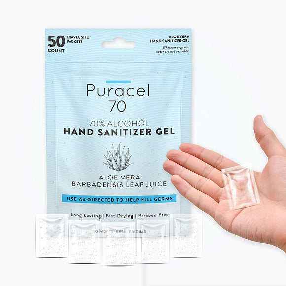 HSB-50 Puracel Sanitizers Bag (50 pouches) - Zip bag with 50 individual pouches inside. Nosticky residue, 70% ethyl alcohol