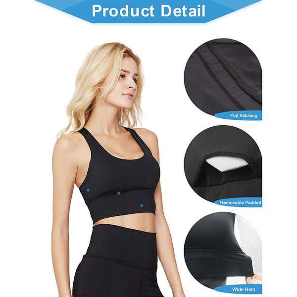 Longline Yoga Workout Bra - Running Gym Activewear