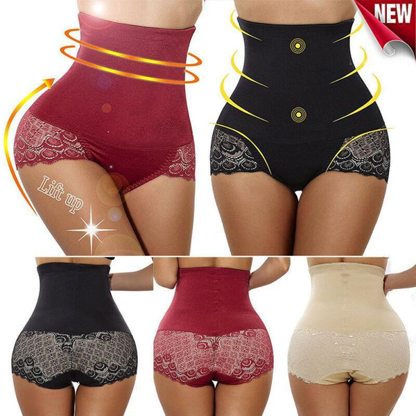 Sexy High Waist Slimming Shaper BoyShort with Lace Butt Lifter