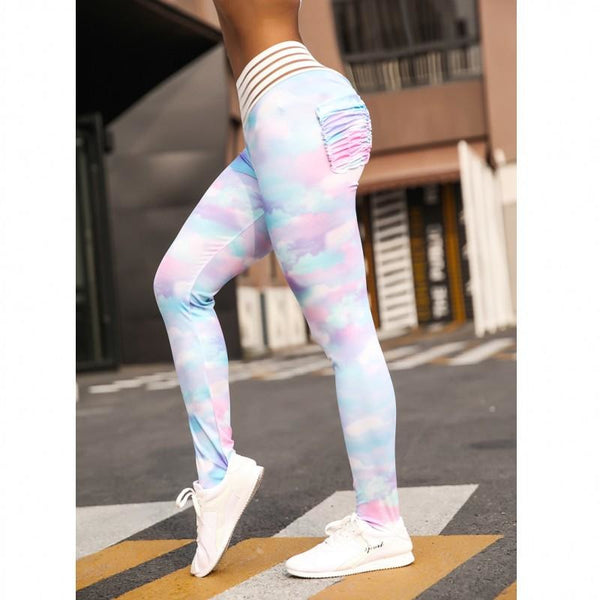 Rainbow Dream Tummy Control Pocket Push Up Workout Leggings