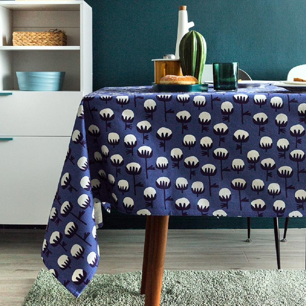 Blue Cotton Indoor / Outdoor Tablecloth