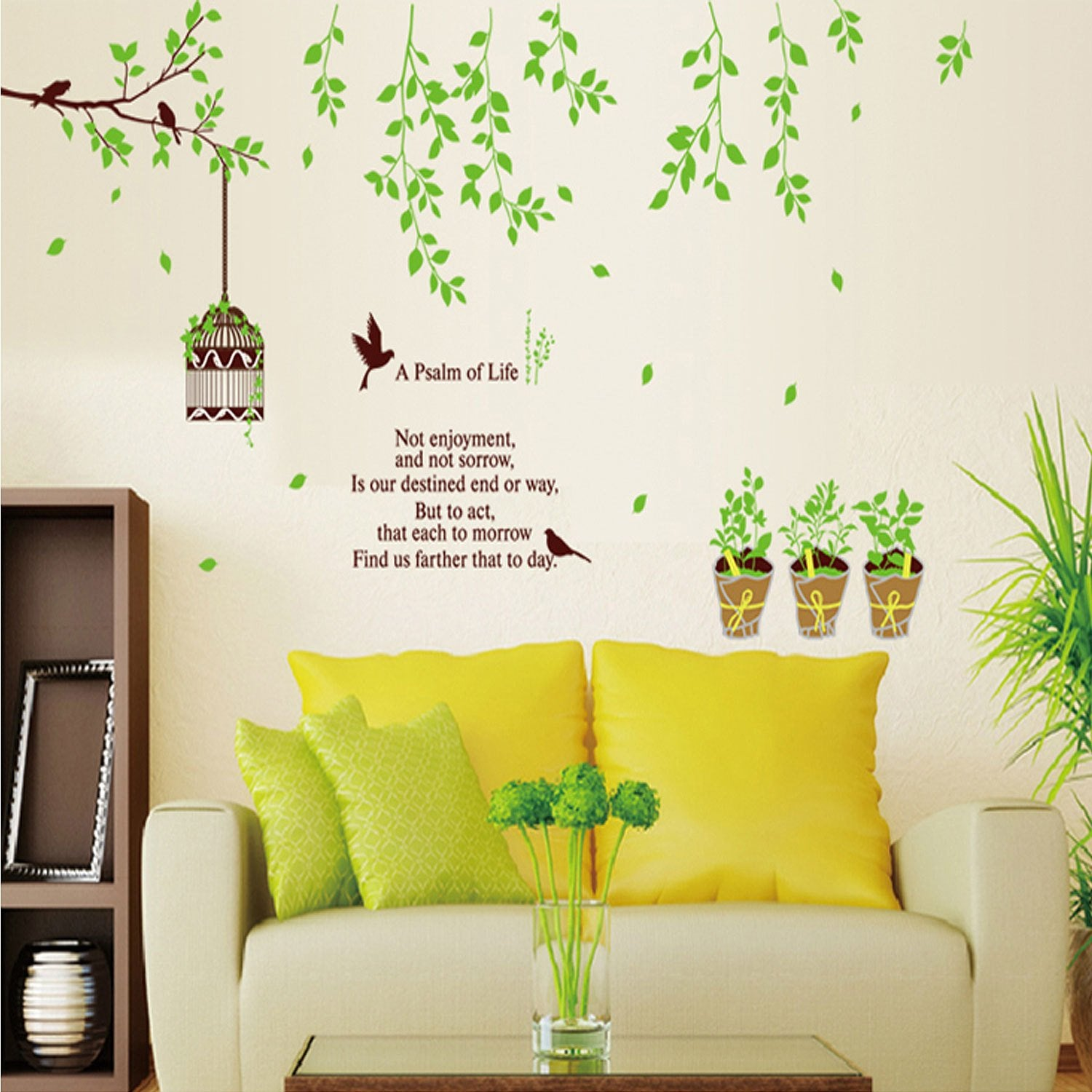 Leaves Flower PVC Wall Stickers Home Decor